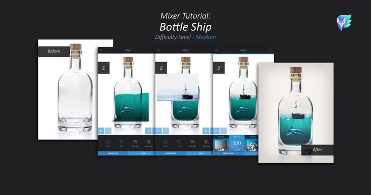 Master the Mixer tool! Today, learn how to fit a ship (or anything else) into a bottle with this creative, medium-level tutorial: 1. You'll need 3 images: 1 sea creature under water, 1 clear empty bottle, &1 ship over sea. Start with the bottle > Tools > Mixer > add sea creature. Tap Tools tab …