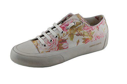 Candice Cooper Rock 01 Rose (Weiß Rosendruck) Tamponato (Kalbleder) Base panna Damen Sneaker Größe 36 - http://uhr.haus/candice-cooper/candice-cooper-rock-01-rose-weiss-rosendruck-base