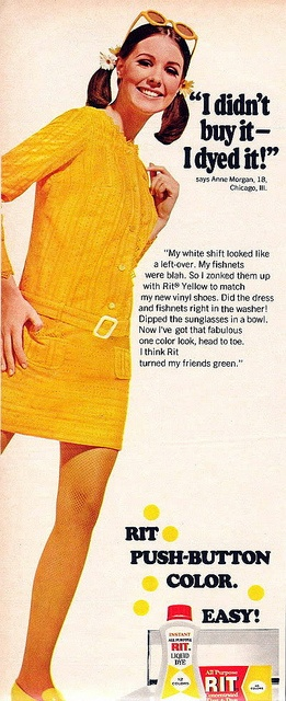 1968 my parents would get so mad when I tried to dye my jeans to look new again because it got everywhere