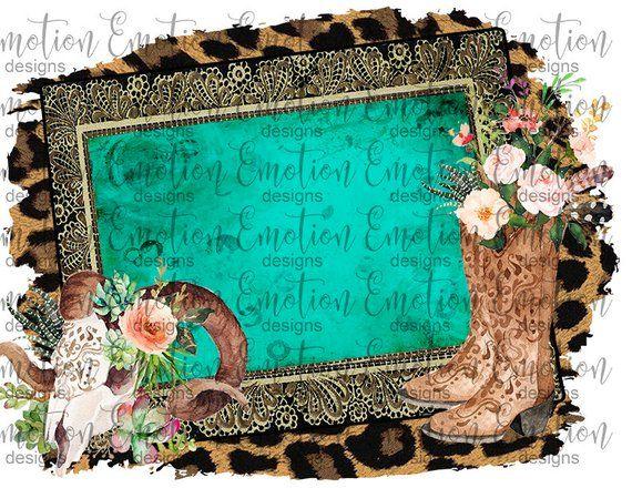 Western Frame Png Instant Download Sublimation Graphics Etsy Animal Print Wallpaper Digital Art Design Clip Art
