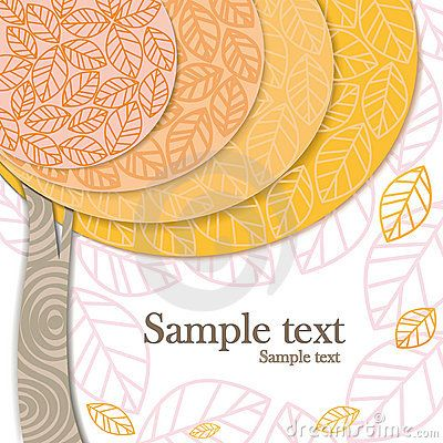 Vector autumn invitation card with stylized modern tree and falling leaves
