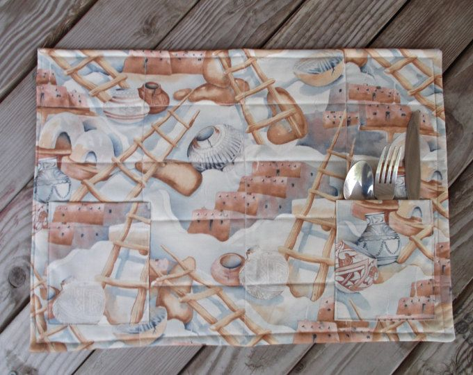 Southwestern placemats, fabric placemats, quilted placemats, handmade placemats, table decor, set of 8, pueblo, tan and grey