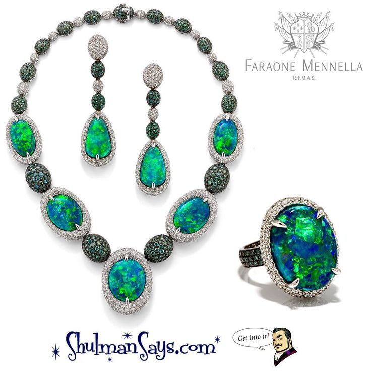 Artemisia necklace, ring & earrings featuring 88ct black Australian opals, 17ct green diamonds and 16ct diamonds set in 18k gold by Faraone Mennella