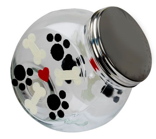 Give man's best friend his own Dog Treat Jar with enamel paint paw prints. These jars are cute and easy craft projects for dogs, and will surely bring a smile to your pet's face!