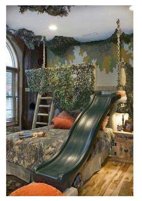 Jungle bedroom with slide!