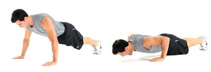 The push up, best ever workout move. aeveral modification options, great core move IF done right Proper Push Up Form: How To Do A Push Up - BuiltLean  http://www.builtlean.com/2011/02/23/how-to-proper-push-up-form/