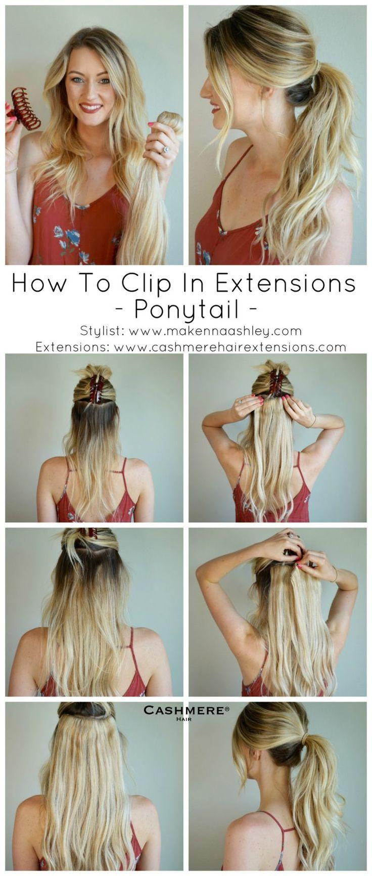 Wie man Erweiterungen für einen Pferdeschwanz einsteckt   Kaschmir-Haarspange In Extensions