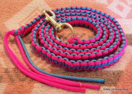 New Handmade Heavy Duty Paracord Horse LEAD ROPE Neon Pink/Turquoise Horse Tack Rodeo Barrel Racing