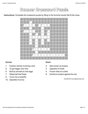 Summer crossword puzzle that changes each time you visit.