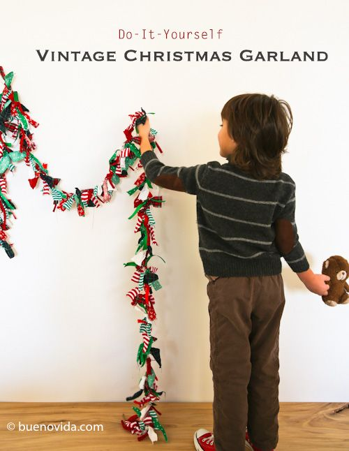 Recycled Christmas garland-  basically cut 6 inch strips of ribbon, scrap fabric, old clothes, etc.  Tie a single knot on study twine and Ta-da! Cute garland in whatever color scheme you want.  ... This is gonna happen this year at Christmas.  Okay, or maybe even a colorful one to keep up in the art studio year round.
