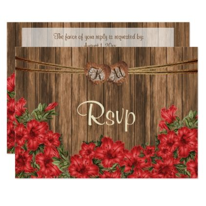 #monogrammed - #RSVP Monogram Heart with Red Lily Flowers Card