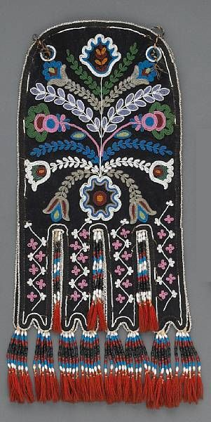 James Bay Cree (Quebec), Octopus Bag, beads/wool, c. 1860. Could also as easily be Métis; similar bags were a very common clothing accessory among 19th century Métis. JE
