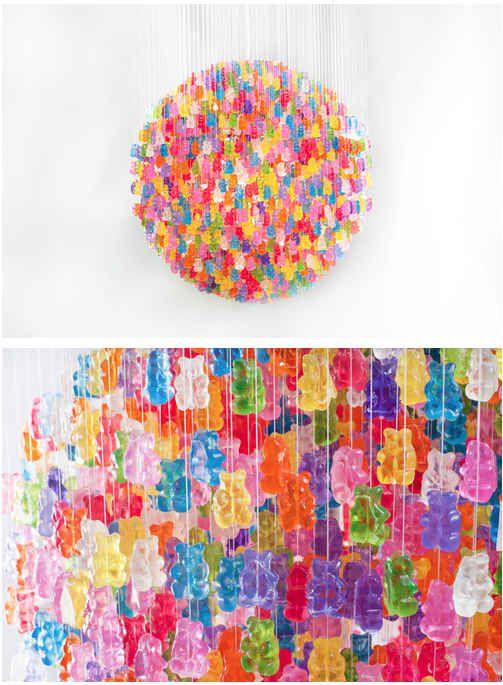 A 3,000-Piece Gummy Bear Chandelier.  I wanna swwwwwiiiing, from the chan-de-lier.