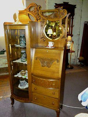 Antique Oak Desk Bookcase Secretary Ornate Beveled Mirror