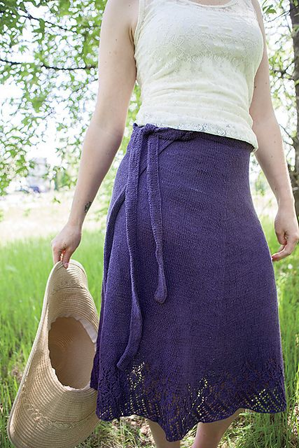 "Free knitting pattern for Wrap Around Skirt - Erica Jackofsky (Fiddle Knits) designed this lace trimmed stockinette wrap skirt for Knit Picks. To fit 27 (34, 42, 47.5, 52)"" waist measurement"