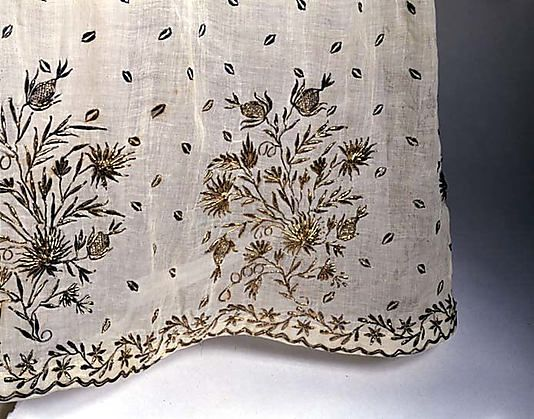 Detail of French evening dress, ca. 1810. Metallic thread on cotton.
