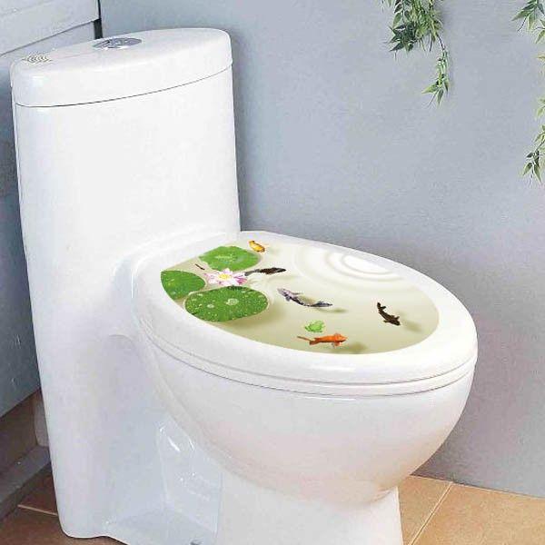 ... トイレ用 だまし絵ステッカー 便器のふた 自然風景 シール トリックアート ウォールステッカー