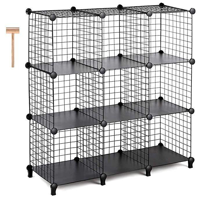 Tomcare Cube Storage 9 Cube Metal Wire Cube Storage Storage Cubes Shelves Cube Closet Organizer Stackable Storage Bins Diy Stackable Storage Bins Cube Shelves