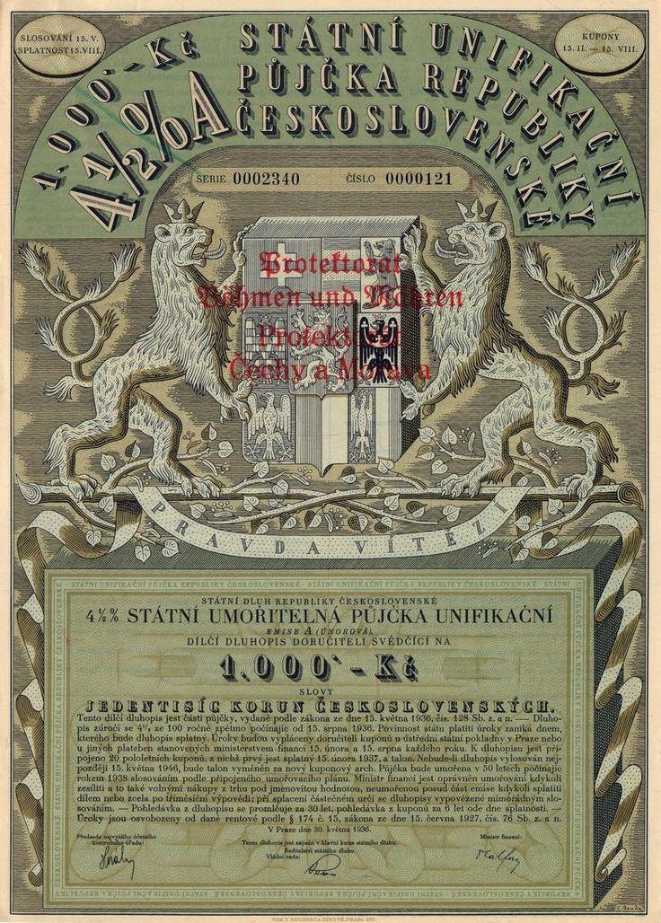 Státní unifikační půjčka republiky Československé na 1 000 Kč. Praha, 1936.