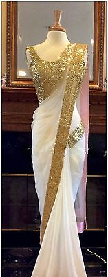 Beautiful White Georgette Saree Indian Ethnic Bollywood Party Wear Fancy Sari