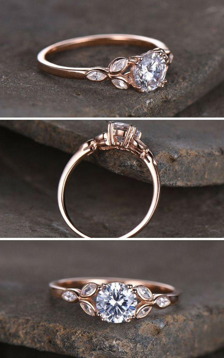 108ea5e2b7b7 Sterling silver ring Round cut Cubic Zirconia engagement ring CZ wedding  ring Three