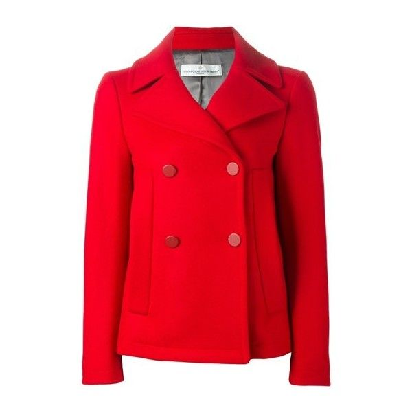 GOLDEN GOOSE DELUXE BRAND Classic Peacoat ($766) ❤ liked on Polyvore featuring outerwear, coats, red, red peacoat, pea coat, short coat, short double breasted coat and golden goose