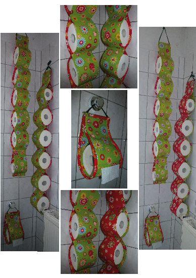 """WC, Klopapierspender und Aufbewahrung, selber genäht, Spender ist innen mit Folie beschichtet wodurch die Rolle besser """"rollt"""". Damit der Spender die Form besser hält sind in die Seitennähte """"Federn"""" von alten Scheibenwischern eingearbeitet.(im Gummi sind doch Metallstreifen drin, tolles Zeug, biegsam kürzbar rostfrei kostenlos)"""