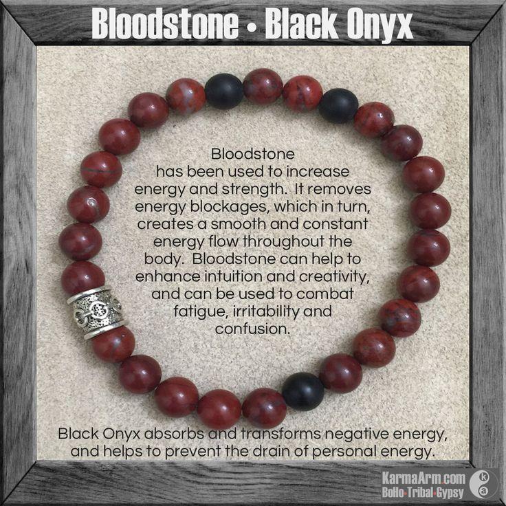 COURAGE: Bloodstone • Onyx Yoga Mala Bead Bracelet - Karma Arm  - 1