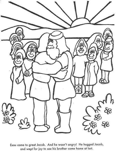 learn bible stories with jacob esau meet again bible coloring page
