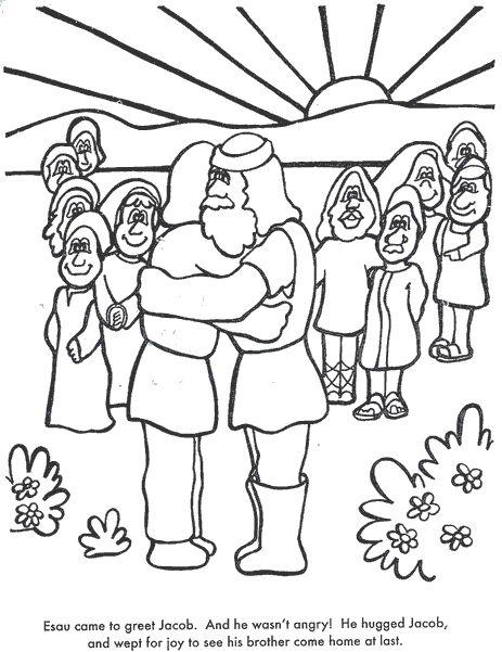 esau forgives jacob coloring pages - photo#6