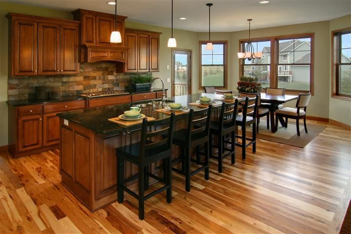Kitchen with cherry cabinets and hickory floors kitchen for Floor kitchen cabinets