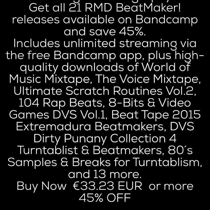 Full Digital Discography Get all 21 RMD BeatMaker! releases available on Bandcamp and save 45%. Includes unlimited streaming via the free Bandcamp app plus high-quality downloads of World of Music Mixtape The Voice Mixtape Ultimate Scratch Routines Vol.2 104 Rap Beats 8-Bits & Video Games DVS Vol.1 Beat Tape 2015 Extremadura Beatmakers DVS Dirty Punany Collection 4 Turntablist & Beatmakers 80s Samples & Breaks for Turntablism and 13 more. Buy Now 33.23 EUR  or more 45% OFF…