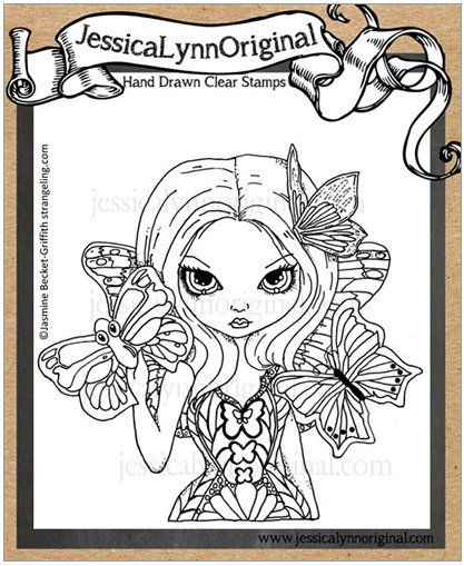 JessicaLynnOriginal Fairy with a Butterfly Mask Clear Rubber Stamp Featuring the art of Jasmine Becket-Griffith - JessicaLynnOriginal