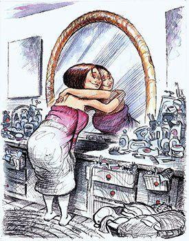 One of LaBaff's more popular drawings with Facebook fans was this one of a woman in a bath towel hugging her reflection. It illustrated a st...