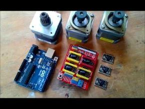 Control de motores paso a paso para CNC, CNC shield, 3 A4988 stepper drivers con el programa GRBL en Arduino UNO controlado con el programa Universal-G-Code_...