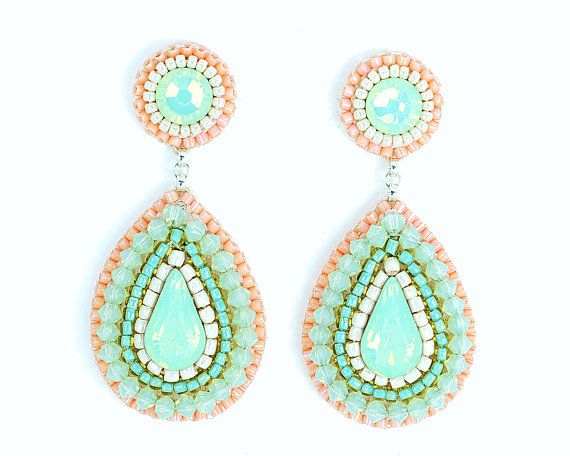 Mint peach earrings