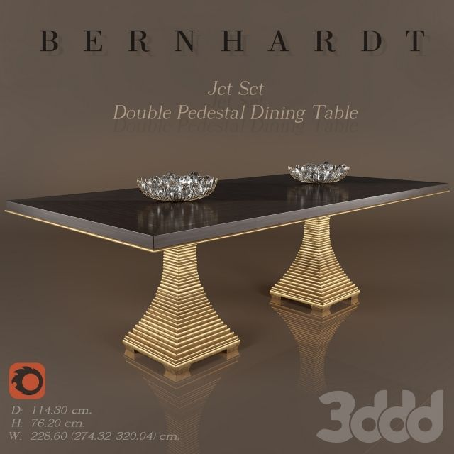 Bernhardt Jet Set Double Pedestal Dining Table In 2020 With