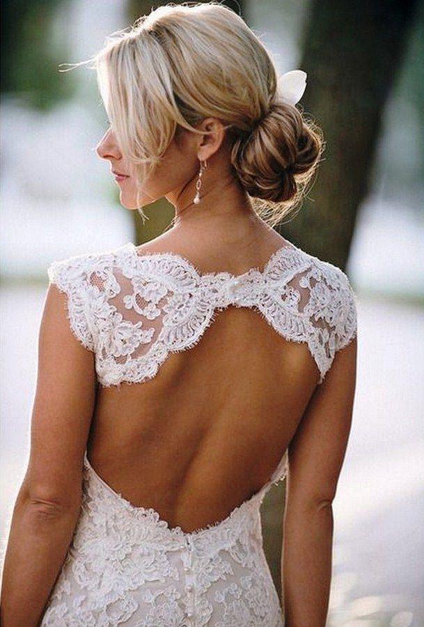 Кружевное платье с открытой спиной | Свадебные платья с открытой спиной