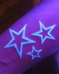 I've been toying with the idea  of a UV tattoo. I want to be a teacher but we're not allowed to have visible tattoos (stupid rule if you ask me) so this might be the solution. Like the look of normal tattoos more though.