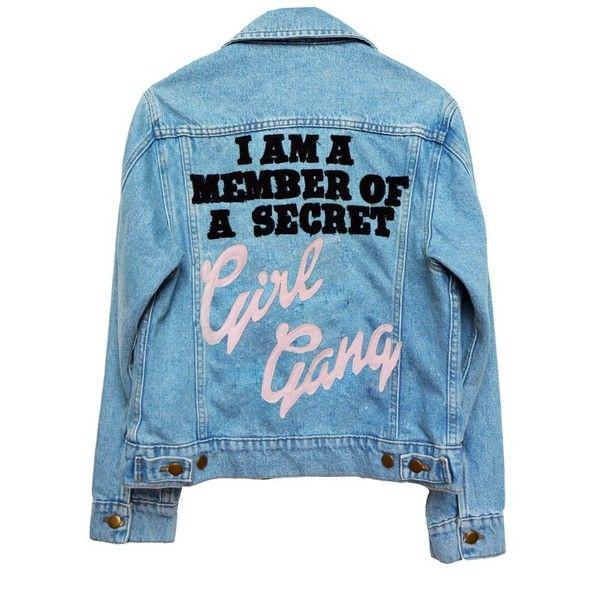 GIRL GANG LIGHT WASH DENIM JACKET ($150) ❤ liked on Polyvore featuring outerwear, jackets, tops, denim, patched jean jacket, denim jacket, jean jacket, patched denim jacket and blue jackets
