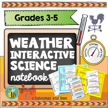 This weather interactive science notebook is packed with activities to help your  students understand weather, climate, clouds, storms, natural events, weather instruments and climate zones. All the foldables in this packet will fit perfectly in interactive science notebooks (2 foldables per page) and may be used as study guides or assessments.