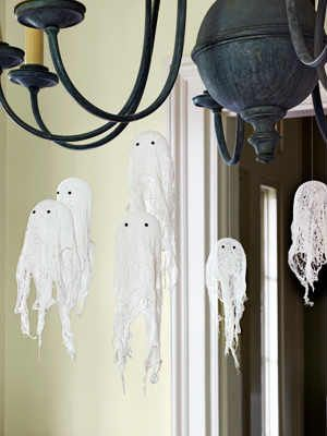 Our kids love making cheesecloth ghosts, the more the merrier and so simple! A few balloons,liquid starch, googley eyes, fishing line or clear thread for the hanging ghosts or waxed paper for the free standing ones and your imagination is all that's needed!