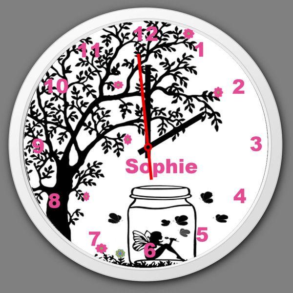Uhren - Kinder Wanduhr Kinderzimmer Fee Wanduhr mit Namen - ein Designerstück von Tassen-Shop bei DaWanda