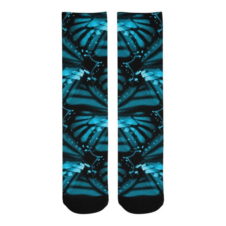 Blue Butterfly Wings Knee-High Socks