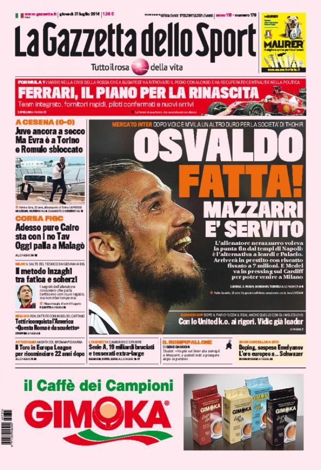 Quotidiani Sport 31Lug #TuttoSport #As #Marca #Gazzetta #Romanista #Equipe #Corriere #MundoDeportivo #Abola