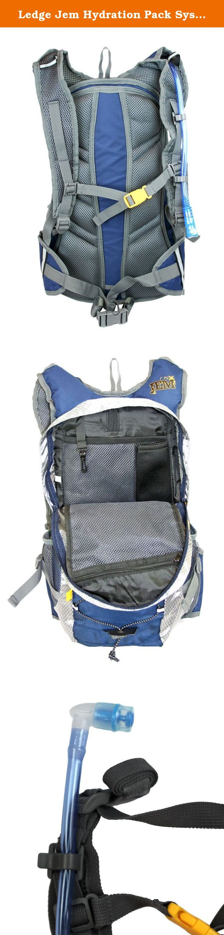 Ledge Jem Hydration Pack System (Blue). 2 Liter Hydration Pack System Bladder Volume: 68 oz (2 liter) Storage Volume: 570 cubic inches Dobby Diamond Ripstop Construction Features: full rain shield with velcro fastener * 7 organizational pockets * drip free dual action bite valve * adjustable waist and sternum strap * 2 supplemental bottle compartments * neoprene phone/mp3 holder * interior key clip * earphone access * reflective taping * bungee cargo holder * padded ventilated back panel…