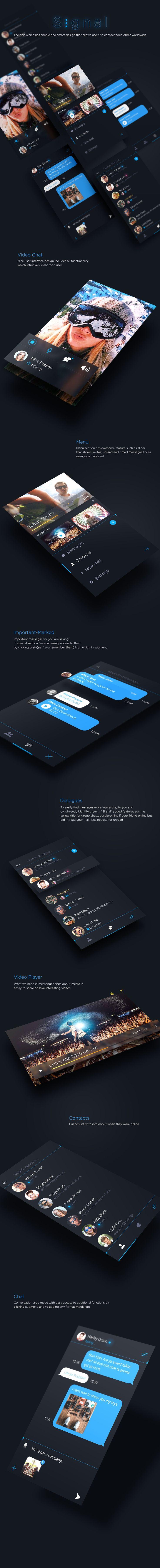Vedi questo progetto @Behance: \u201cSignal - Messenger App\u201d https://www.behance.net/gallery/42406399/Signal-Messenger-App