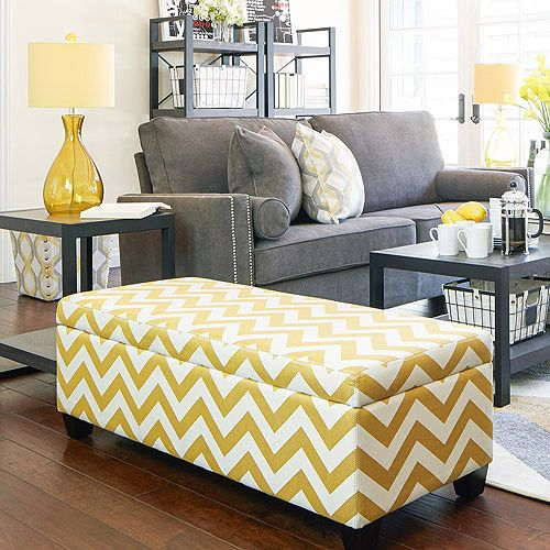 way to go Walmart.....apartment AH Kent Storage Bench Ottoman in Muted Golden Yellow Chevron