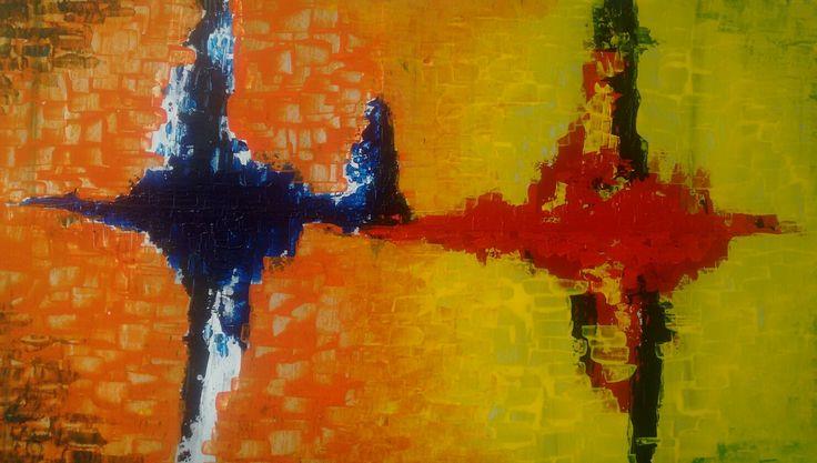 Abstract painting, mixed technique, acrilic, pastel on drywood. 150 cm x 60 cm By Oscar Cardenas,