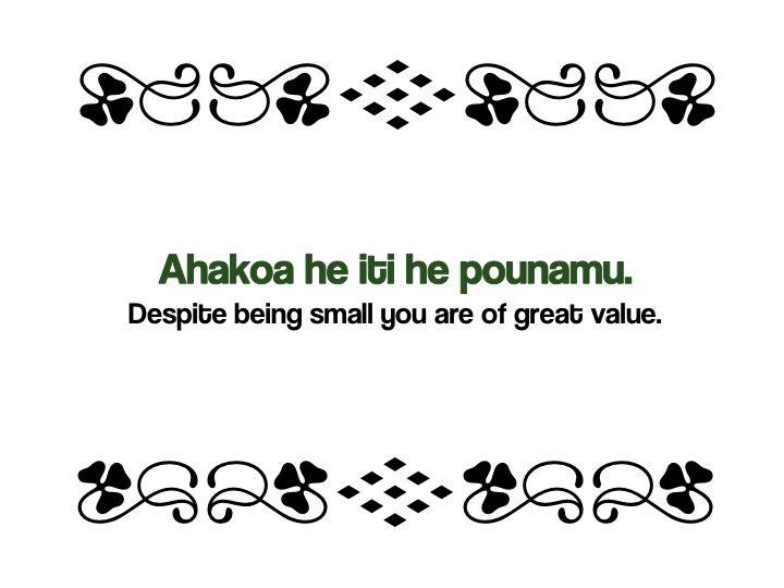 Maori Proverbs: Ahakoa he iti he pounamu.  Despite being small you are of great value. #Whakatauki